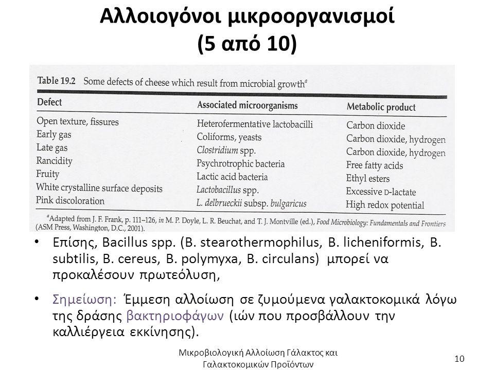 Αλλοιογόνοι μικροοργανισμοί (5 από 10) Επίσης, Bacillus spp. (B. stearothermophilus, Β. licheniformis, Β. subtilis, Β. cereus, Β. polymyxa, Β. circula