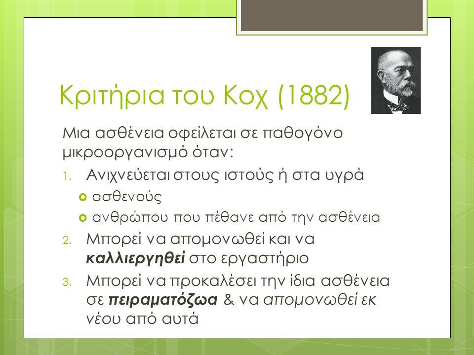 Κριτήρια του Κοχ (1882) Μια ασθένεια οφείλεται σε παθογόνο μικροοργανισμό όταν: 1.