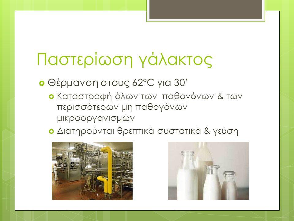 Παστερίωση γάλακτος  Θέρμανση στους 62ºC για 30'  Καταστροφή όλων των παθογόνων & των περισσότερων μη παθογόνων μικροοργανισμών  Διατηρούνται θρεπτικά συστατικά & γεύση