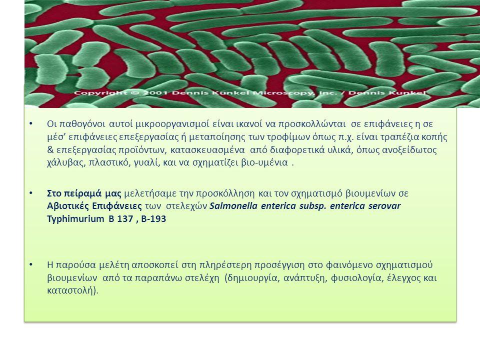 Οι παθογόνοι αυτοί μικροοργανισμοί είναι ικανοί να προσκολλώνται σε επιφάνειες η σε μέσ' επιφάνειες επεξεργασίας ή μεταποίησης των τροφίμων όπως π.χ.