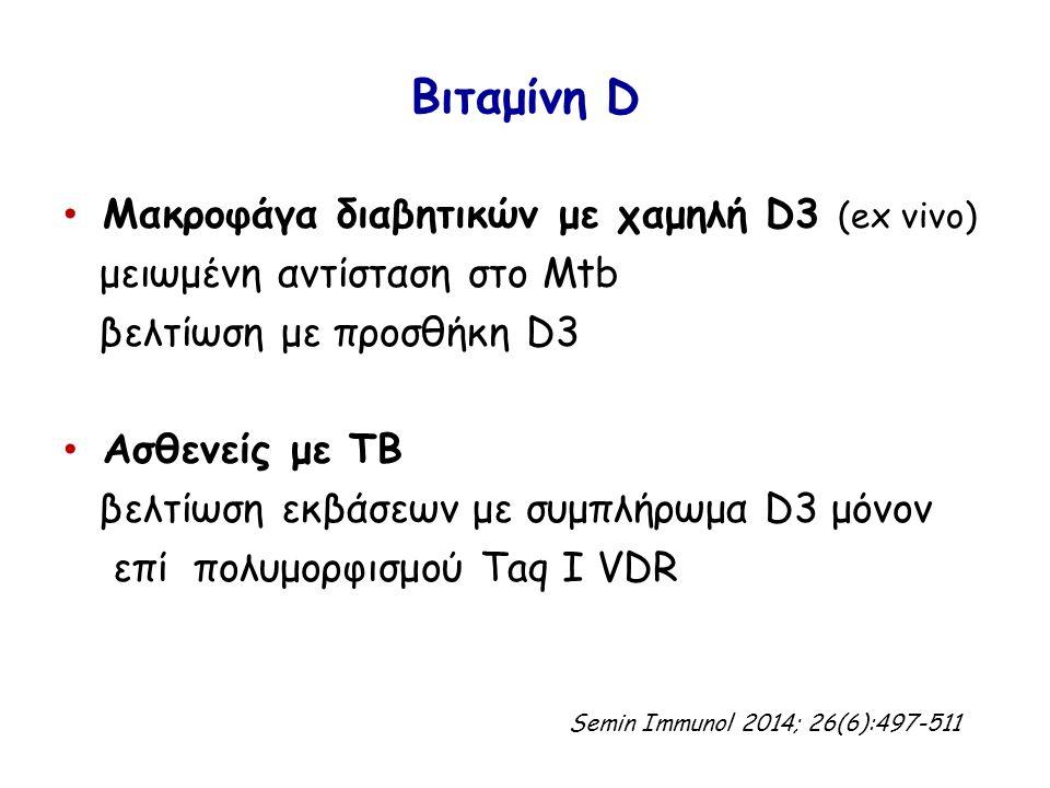 Βιταμίνη D Μακροφάγα διαβητικών με χαμηλή D3 (ex vivo) μειωμένη αντίσταση στο Mtb βελτίωση με προσθήκη D3 Ασθενείς με ΤΒ βελτίωση εκβάσεων με συμπλήρωμα D3 μόνον επί πολυμορφισμού Taq I VDR Semin Immunol 2014; 26(6):497-511