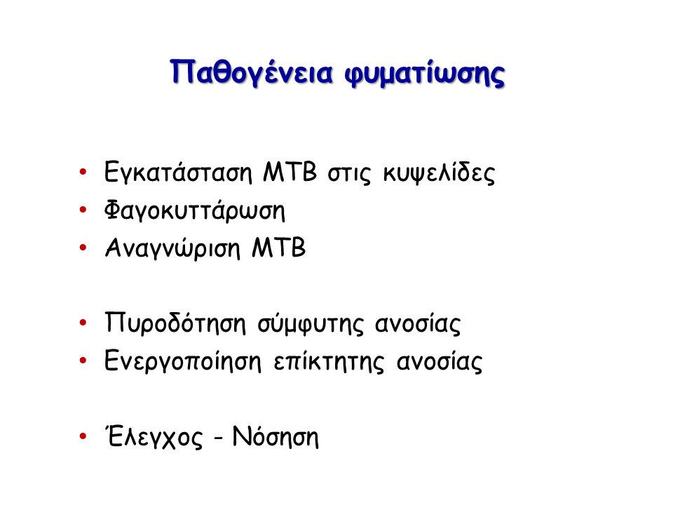 Παθογένεια φυματίωσης Εγκατάσταση ΜΤΒ στις κυψελίδες Φαγοκυττάρωση Αναγνώριση ΜΤΒ Πυροδότηση σύμφυτης ανοσίας Ενεργοποίηση επίκτητης ανοσίας Έλεγχος - Νόσηση
