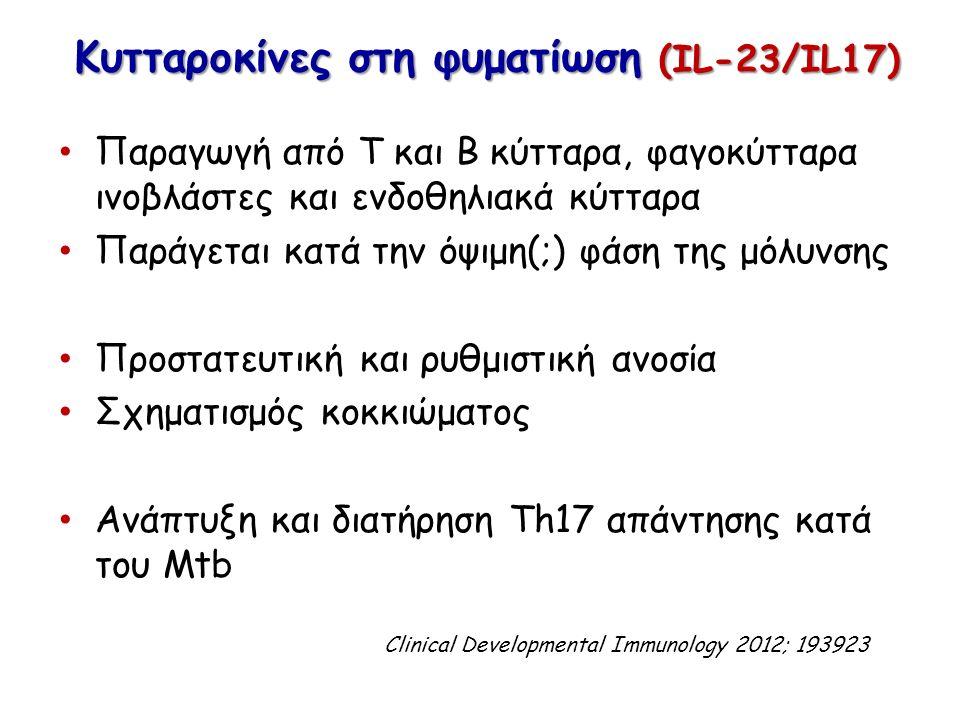 Κυτταροκίνες στη φυματίωση (IL-23/IL17) Παραγωγή από T και B κύτταρα, φαγοκύτταρα ινοβλάστες και ενδοθηλιακά κύτταρα Παράγεται κατά την όψιμη(;) φάση της μόλυνσης Προστατευτική και ρυθμιστική ανοσία Σχηματισμός κοκκιώματος Ανάπτυξη και διατήρηση Th17 απάντησης κατά του Mtb Clinical Developmental Immunology 2012; 193923