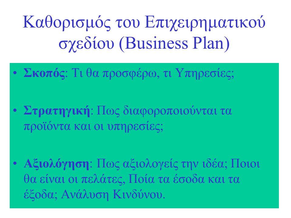 Καθορισμός του Επιχειρηματικού σχεδίου (Business Plan) Σκοπός: Τι θα προσφέρω, τι Υπηρεσίες; Στρατηγική: Πως διαφοροποιούνται τα προϊόντα και οι υπηρεσίες; Αξιολόγηση: Πως αξιολογείς την ιδέα; Ποιοι θα είναι οι πελάτες, Ποία τα έσοδα και τα έξοδα; Ανάλυση Κινδύνου.