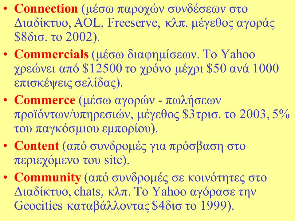Connection (μέσω παροχών συνδέσεων στο Διαδίκτυο, AOL, Freeserve, κλπ.