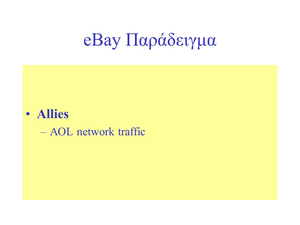 eBay Παράδειγμα Allies –AOL network traffic