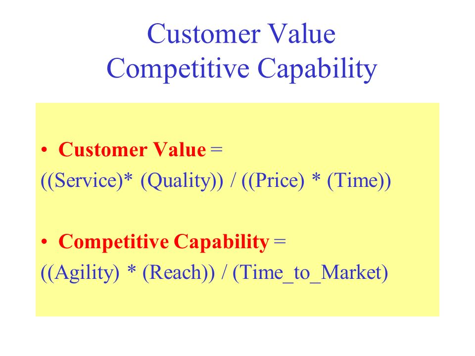 Customer Value Competitive Capability Customer Value = ((Service)* (Quality)) / ((Price) * (Time))‏ Competitive Capability = ((Agility) * (Reach)) / (Time_to_Market)‏