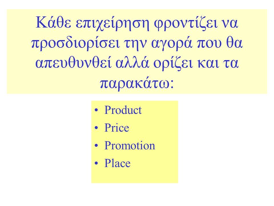 Κάθε επιχείρηση φροντίζει να προσδιορίσει την αγορά που θα απευθυνθεί αλλά ορίζει και τα παρακάτω: Product Price Promotion Place