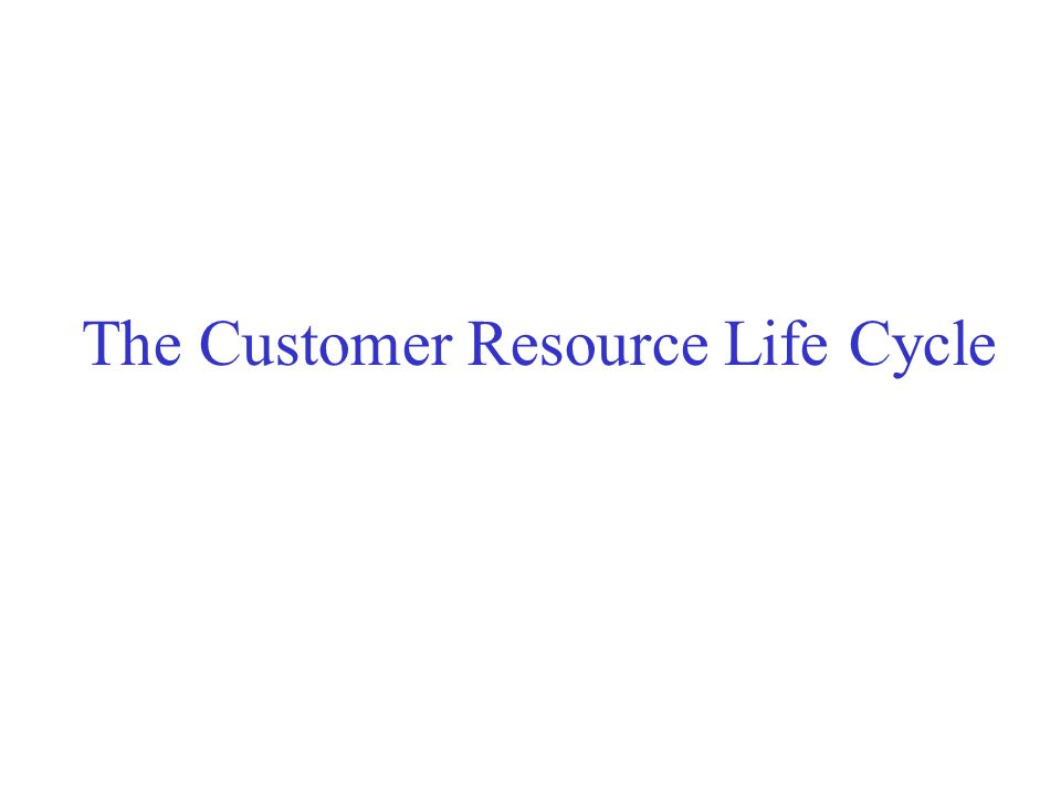 The Customer Resource Life Cycle