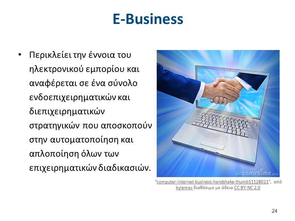 E-Business Περικλείει την έννοια του ηλεκτρονικού εμπορίου και αναφέρεται σε ένα σύνολο ενδοεπιχειρηματικών και διεπιχειρηματικών στρατηγικών που αποσκοπούν στην αυτοματοποίηση και απλοποίηση όλων των επιχειρηματικών διαδικασιών.