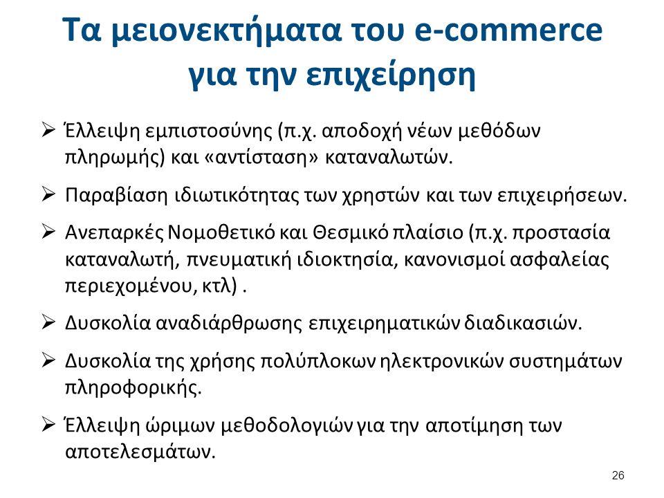 Τα μειονεκτήματα του e-commerce για την επιχείρηση  Έλλειψη εμπιστοσύνης (π.χ.