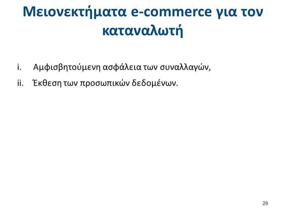 Μειονεκτήματα e-commerce για τον καταναλωτή i.Αμφισβητούμενη ασφάλεια των συναλλαγών, ii.Έκθεση των προσωπικών δεδομένων.