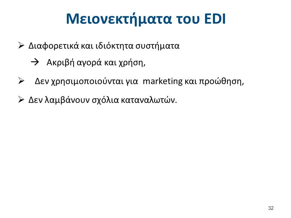 Μειονεκτήματα του EDI  Διαφορετικά και ιδιόκτητα συστήματα  Ακριβή αγορά και χρήση,  Δεν χρησιμοποιούνται για marketing και προώθηση,  Δεν λαμβάνουν σχόλια καταναλωτών.