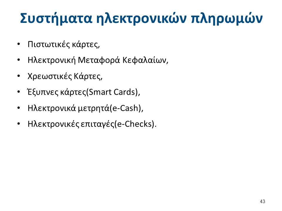Συστήματα ηλεκτρονικών πληρωμών Πιστωτικές κάρτες, Ηλεκτρονική Μεταφορά Κεφαλαίων, Χρεωστικές Κάρτες, Έξυπνες κάρτες(Smart Cards), Ηλεκτρονικά μετρητά(e-Cash), Ηλεκτρονικές επιταγές(e-Checks).