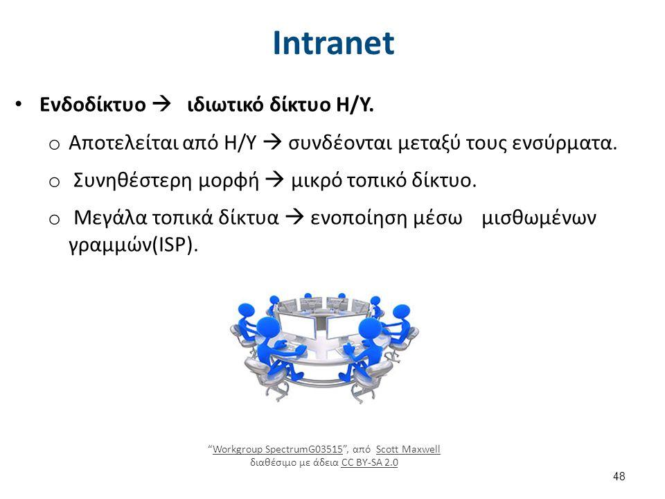 Ενδοδίκτυο  ιδιωτικό δίκτυο Η/Υ. o Αποτελείται από Η/Υ  συνδέονται μεταξύ τους ενσύρματα.