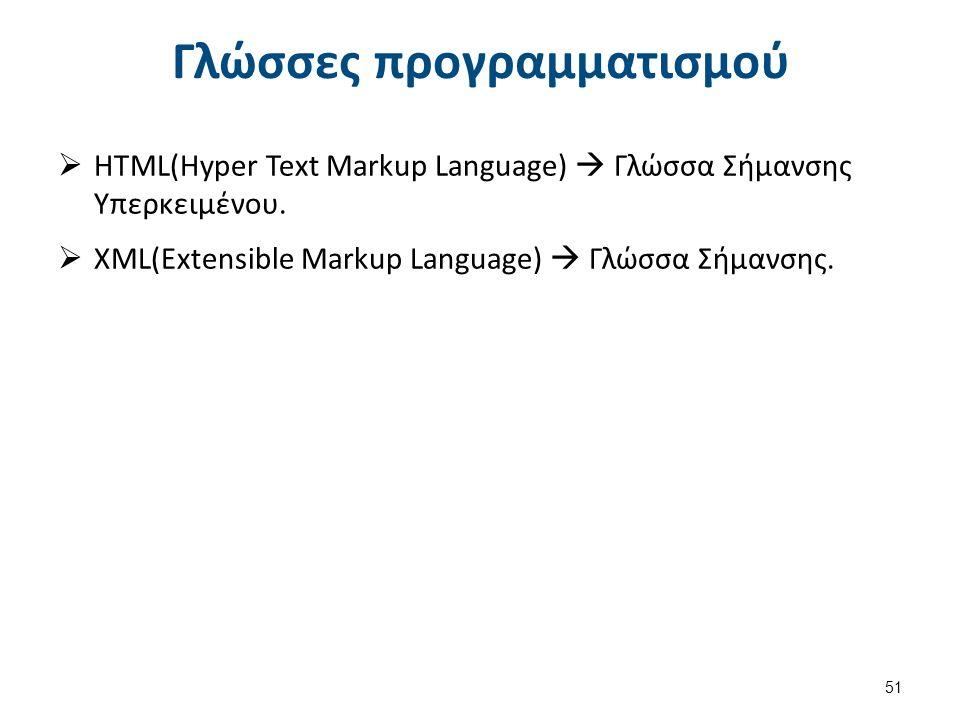 Γλώσσες προγραμματισμού  HTML(Hyper Text Markup Language)  Γλώσσα Σήμανσης Υπερκειμένου.
