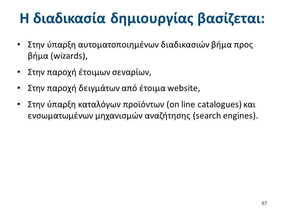 Η διαδικασία δημιουργίας βασίζεται: Στην ύπαρξη αυτοματοποιημένων διαδικασιών βήμα προς βήμα (wizards), Στην παροχή έτοιμων σεναρίων, Στην παροχή δειγμάτων από έτοιμα website, Στην ύπαρξη καταλόγων προϊόντων (on line catalogues) και ενσωματωμένων μηχανισμών αναζήτησης (search engines).