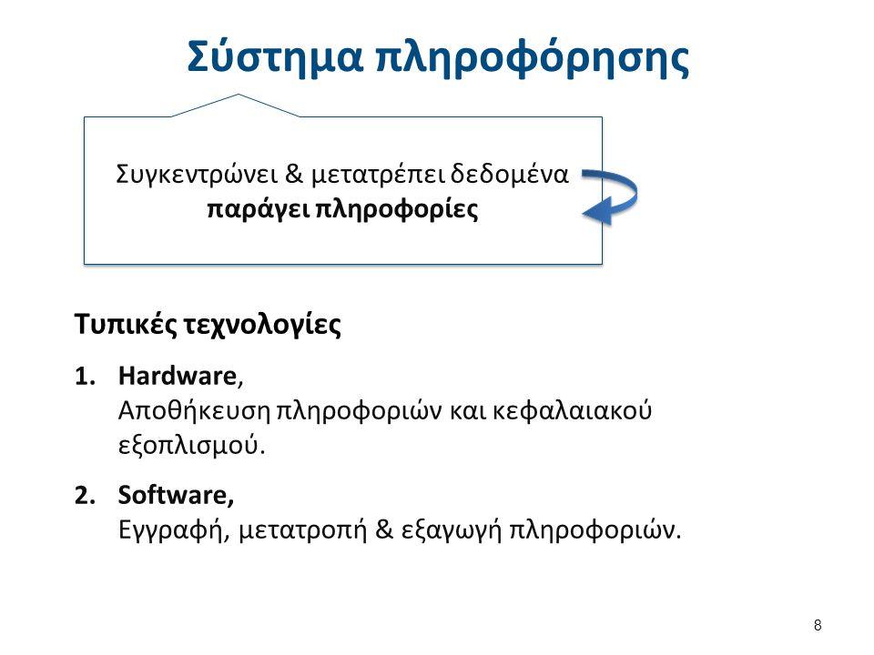 Σύστημα πληροφόρησης 8 Συγκεντρώνει & μετατρέπει δεδομένα παράγει πληροφορίες Τυπικές τεχνολογίες 1.