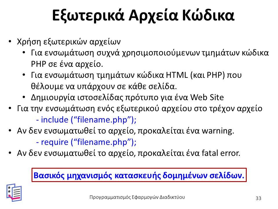 Εξωτερικά Αρχεία Κώδικα Χρήση εξωτερικών αρχείων Για ενσωμάτωση συχνά χρησιμοποιούμενων τμημάτων κώδικα PHP σε ένα αρχείο. Για ενσωμάτωση τμημάτων κώδ