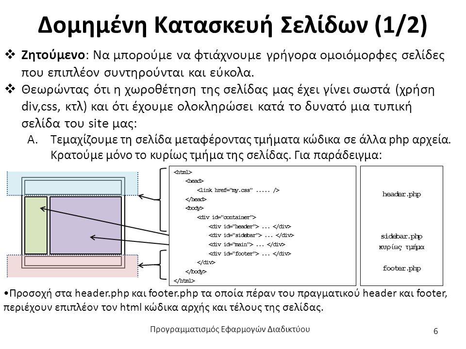 Δομημένη Κατασκευή Σελίδων (1/2)  Ζητούμενο: Να μπορούμε να φτιάχνουμε γρήγορα ομοιόμορφες σελίδες που επιπλέον συντηρούνται και εύκολα.  Θεωρώντας