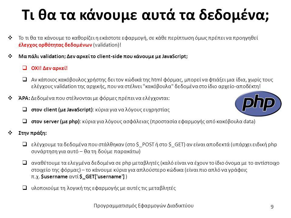 Έστω η φόρμα του εργαστηρίου 05: (για λόγους χώρου, έχει κρατηθεί ο απολύτως απαραίτητος κώδικας) username: password: e-mail: ΑΦΜ: Εισόδημα: -επέλεξε- <500 € 500 ως 1000 € 1001 ως 1500 € Φύλο: Άνδρας Γυναίκα Ηλικία: Ενδιαφέρ.: Σπορ Επιστήμη Μουσική Σχόλια: Προγραμματισμός Εφαρμογών Διαδικτύου 10