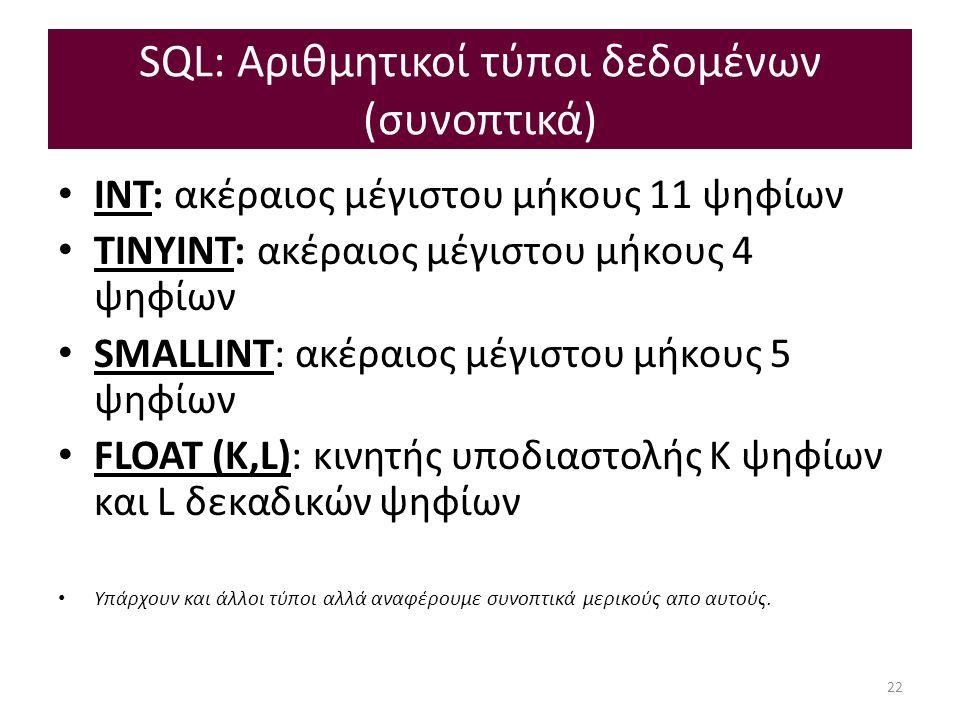 SQL: Αριθμητικοί τύποι δεδομένων (συνοπτικά) INT: ακέραιος μέγιστου μήκους 11 ψηφίων ΤΙΝΥΙΝΤ: ακέραιος μέγιστου μήκους 4 ψηφίων SMALLINT: ακέραιος μέγιστου μήκους 5 ψηφίων FLOAT (K,L): κινητής υποδιαστολής Κ ψηφίων και L δεκαδικών ψηφίων Υπάρχουν και άλλοι τύποι αλλά αναφέρουμε συνοπτικά μερικούς απο αυτούς.