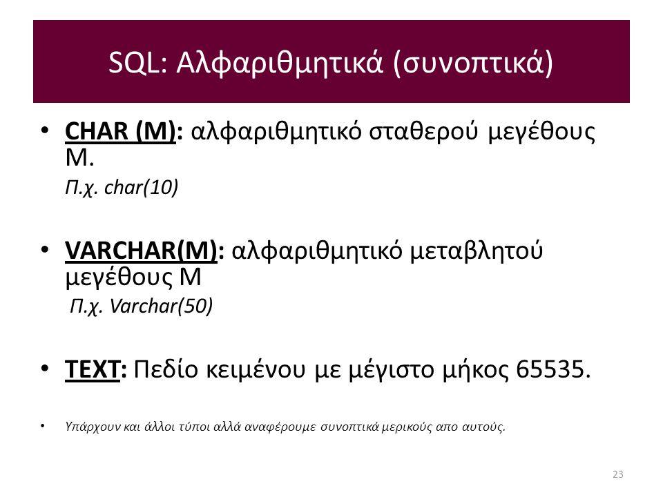 SQL: Αλφαριθμητικά (συνοπτικά) CHAR (M): αλφαριθμητικό σταθερού μεγέθους M.