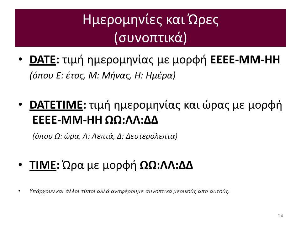 Ημερομηνίες και Ώρες (συνοπτικά) DATE: τιμή ημερομηνίας με μoρφή EEEE-MM-HH (όπου E: έτος, Μ: Μήνας, Η: Ημέρα) DATETIME: τιμή ημερομηνίας και ώρας με μορφή EEEE-MM-HH ΩΩ:ΛΛ:ΔΔ (όπου Ω: ώρα, Λ: Λεπτά, Δ: Δευτερόλεπτα) ΤΙΜΕ: Ώρα με μορφή ΩΩ:ΛΛ:ΔΔ Υπάρχουν και άλλοι τύποι αλλά αναφέρουμε συνοπτικά μερικούς απο αυτούς.