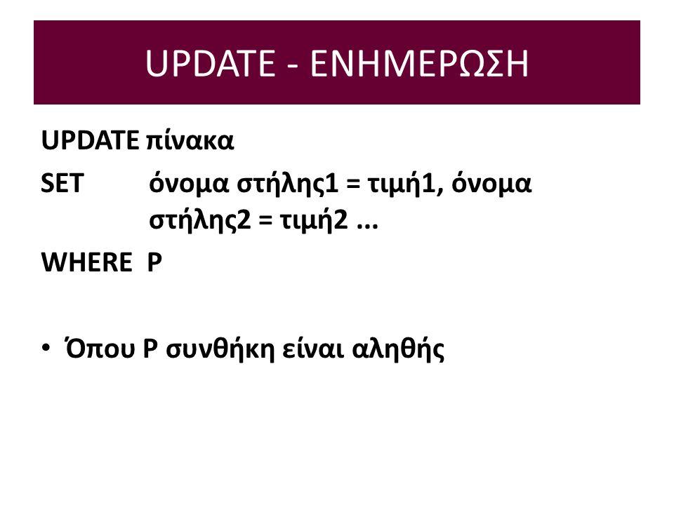 UPDATE - ΕΝΗΜΕΡΩΣΗ UPDATE πίνακα SET όνομα στήλης1 = τιμή1, όνομα στήλης2 = τιμή2...