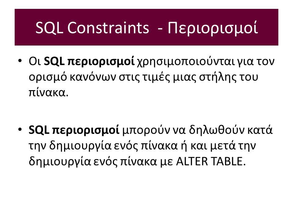 SQL Constraints - Περιορισμοί Οι SQL περιορισμοί χρησιμοποιούνται για τον ορισμό κανόνων στις τιμές μιας στήλης του πίνακα.