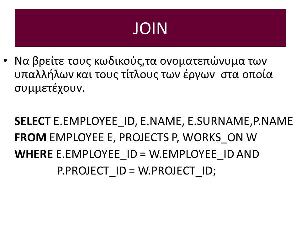 JOIN Να βρείτε τους κωδικούς,τα ονοματεπώνυμα των υπαλλήλων και τους τίτλους των έργων στα οποία συμμετέχουν.