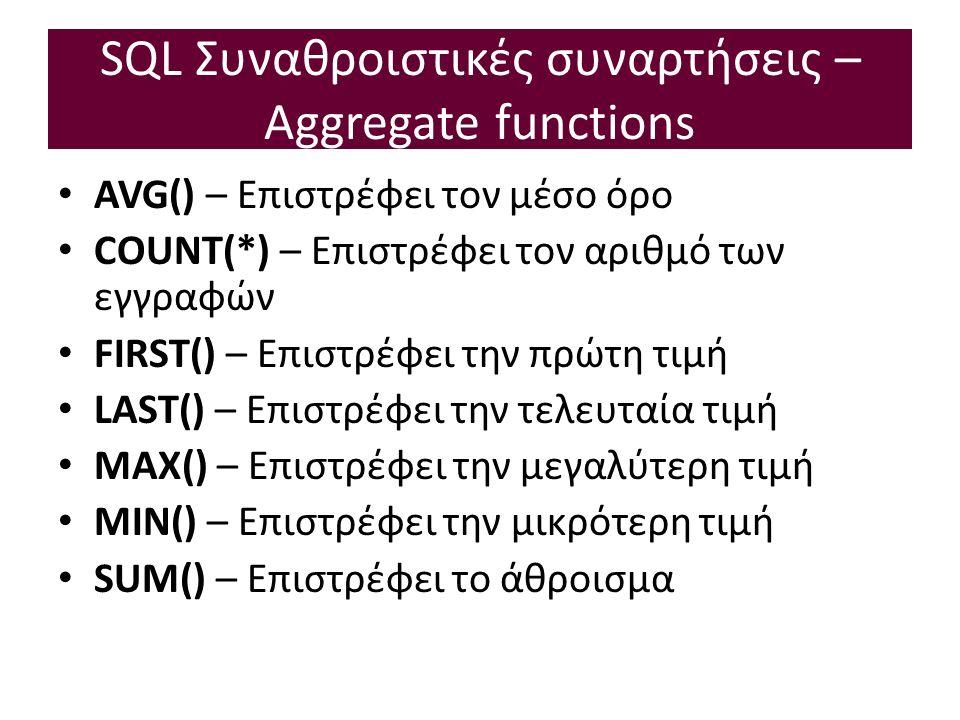 SQL Συναθροιστικές συναρτήσεις – Aggregate functions AVG() – Επιστρέφει τον μέσο όρο COUNT(*) – Επιστρέφει τον αριθμό των εγγραφών FIRST() – Επιστρέφει την πρώτη τιμή LAST() – Επιστρέφει την τελευταία τιμή MAX() – Επιστρέφει την μεγαλύτερη τιμή MIN() – Επιστρέφει την μικρότερη τιμή SUM() – Επιστρέφει το άθροισμα