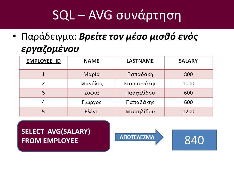 SQL – AVG συνάρτηση Παράδειγμα: Βρείτε τον μέσο μισθό ενός εργαζομένου SELECT AVG(SALARY) FROM EMPLOYEE EMPLOYEE_IDNAMELASTNAMESALARY 1ΜαρίαΠαπαδάκη800 2ΜανόληςΚαπετανάκης1000 3ΣοφίαΠασχαλίδου600 4ΓιώργοςΠαπαδάκης600 5ΕλένηΜιχαηλίδου1200 ΑΠΟΤΕΛΕΣΜΑ 840