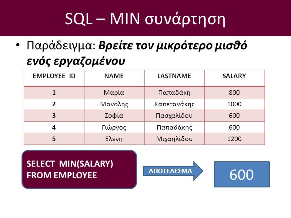 SQL – ΜIN συνάρτηση Παράδειγμα: Βρείτε τον μικρότερο μισθό ενός εργαζομένου SELECT ΜΙΝ(SALARY) FROM EMPLOYEE EMPLOYEE_IDNAMELASTNAMESALARY 1ΜαρίαΠαπαδάκη800 2ΜανόληςΚαπετανάκης1000 3ΣοφίαΠασχαλίδου600 4ΓιώργοςΠαπαδάκης600 5ΕλένηΜιχαηλίδου1200 ΑΠΟΤΕΛΕΣΜΑ 600