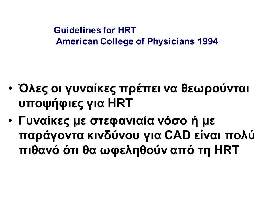 Guidelines for HRT American College of Physicians 1994 Όλες οι γυναίκες πρέπει να θεωρούνται υποψήφιες για HRT Γυναίκες με στεφανιαία νόσο ή με παράγο