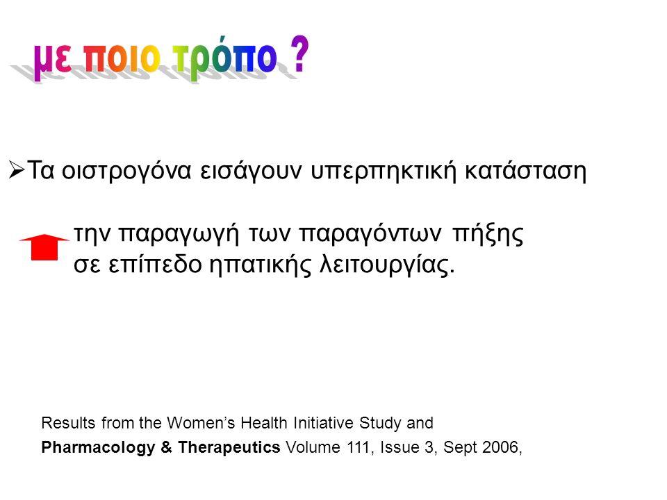  Τα οιστρογόνα εισάγουν υπερπηκτική κατάσταση την παραγωγή των παραγόντων πήξης σε επίπεδο ηπατικής λειτουργίας. Results from the Women's Health Init