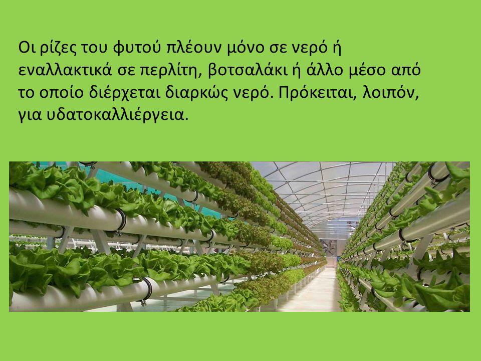 Τρόπος Καλλιέργειας Στην υδροπονία οι ρίζες των φυτών αναπτύσσονται είτε σε υδατικό διάλυμα ανόργανων θρεπτικών στοιχείων (θρεπτικό διάλυμα), είτε σε στερεά πορώδη υποστρώματα και αρδεύονται μόνο με θρεπτικό διάλυμα.