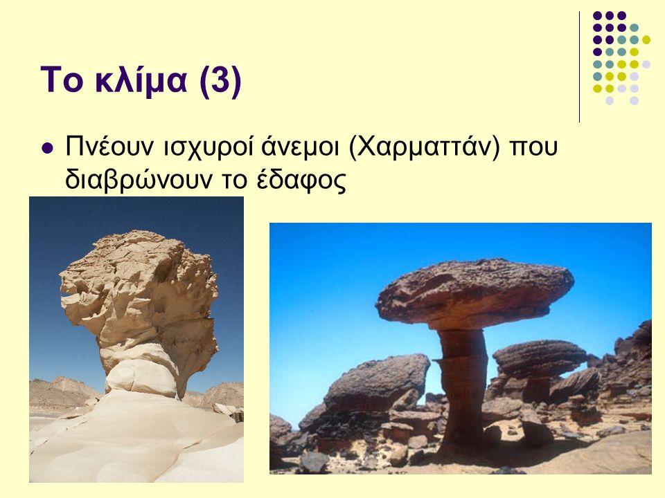 Το κλίμα (3) Πνέουν ισχυροί άνεμοι (Χαρματτάν) που διαβρώνουν το έδαφος