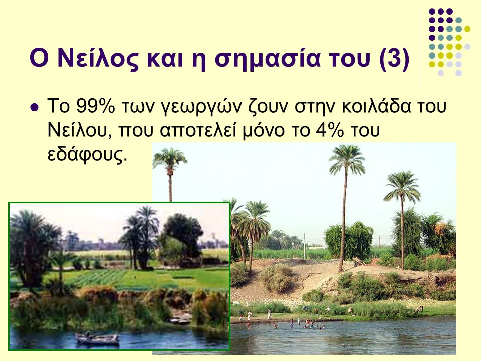 Ο Νείλος και η σημασία του (3) Το 99% των γεωργών ζουν στην κοιλάδα του Νείλου, που αποτελεί μόνο το 4% του εδάφους.