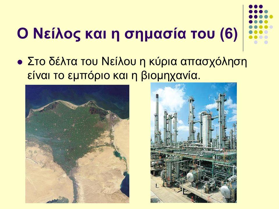 Ο Νείλος και η σημασία του (6) Στο δέλτα του Νείλου η κύρια απασχόληση είναι το εμπόριο και η βιομηχανία.