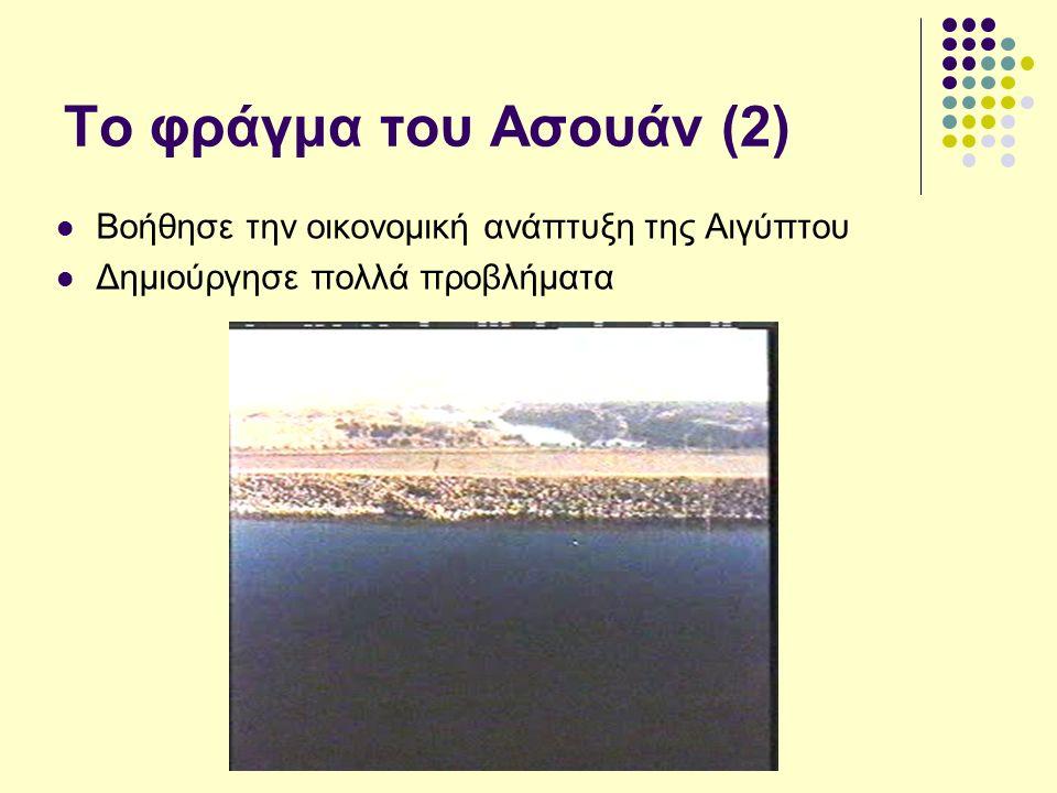 Το φράγμα του Ασουάν (2) Βοήθησε την οικονομική ανάπτυξη της Αιγύπτου Δημιούργησε πολλά προβλήματα