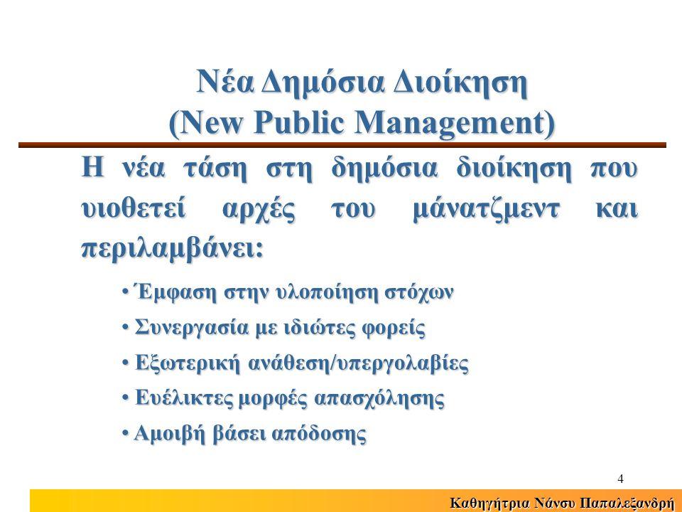 Καθηγήτρια Νάνσυ Παπαλεξανδρή 4 Νέα Δημόσια Διοίκηση (New Public Management) Η νέα τάση στη δημόσια διοίκηση που υιοθετεί αρχές του μάνατζμεντ και περιλαμβάνει: Έμφαση στην υλοποίηση στόχων Έμφαση στην υλοποίηση στόχων Συνεργασία με ιδιώτες φορείς Συνεργασία με ιδιώτες φορείς Εξωτερική ανάθεση/υπεργολαβίες Εξωτερική ανάθεση/υπεργολαβίες Ευέλικτες μορφές απασχόλησης Ευέλικτες μορφές απασχόλησης Αμοιβή βάσει απόδοσης Αμοιβή βάσει απόδοσης