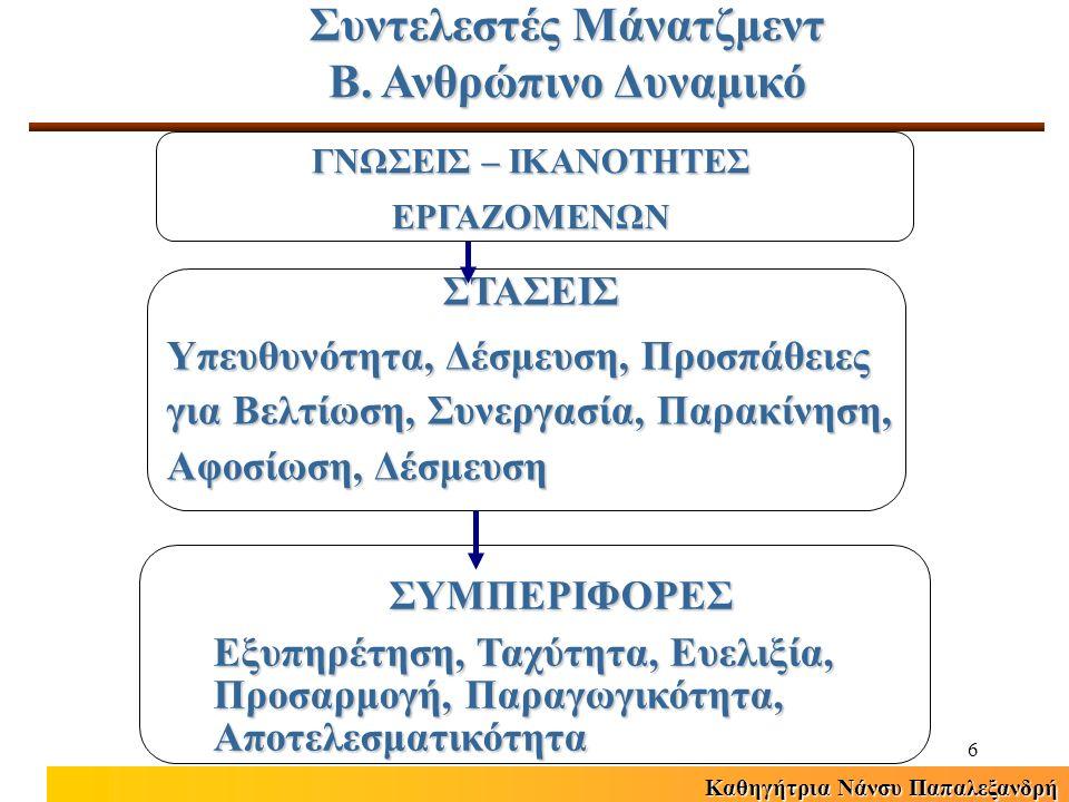 Καθηγήτρια Νάνσυ Παπαλεξανδρή 17 Σύγχρονη Φιλοσοφία ΔΑΔ Εργαζόμενοι ως ανταγωνιστικό πλεονέκτημα επιχείρησης Συνεχής ανάπτυξη επαγγελματικών δεξιοτήτων (competencies) των εργαζομένων Αύξηση αφοσίωσης εργαζομένων Έμφαση στην ενδυνάμωση εργαζομένων (empowerment) Έμφαση στην αποτελεσματική λειτουργία ομάδων Έμφαση στην αξιοπιστία και δικαιοσύνη των πολιτικών ΔΑΔ