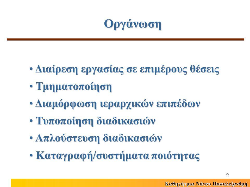 Καθηγήτρια Νάνσυ Παπαλεξανδρή 20 Διακρίσεις ανάμεσα στα στελέχη της ιεραρχίας και στους επιτελικούς συμβούλουςΔιακρίσεις ανάμεσα στα στελέχη της ιεραρχίας και στους επιτελικούς συμβούλους Πολύπλοκες διαδικασίες και νομικές ρυθμίσεις σχετικά με το προσωπικόΠολύπλοκες διαδικασίες και νομικές ρυθμίσεις σχετικά με το προσωπικό Έλλειψη κινήτρων απόδοσηςΈλλειψη κινήτρων απόδοσης Η υψηλή απόδοση πηγάζει περισσότερο από αλτρουισμό παρά από προσωπικό συμφέρονΗ υψηλή απόδοση πηγάζει περισσότερο από αλτρουισμό παρά από προσωπικό συμφέρον Χαρακτηριστικά ΔΑΔ Δημόσιου Τομέα