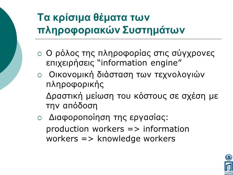 Τα κρίσιμα θέματα των πληροφοριακών Συστημάτων  Ο ρόλος της πληροφορίας στις σύγχρονες επιχειρήσεις information engine  Οικονομική διάσταση των τεχνολογιών πληροφορικής Δραστική μείωση του κόστους σε σχέση με την απόδοση  Διαφοροποίηση της εργασίας: production workers => information workers => knowledge workers
