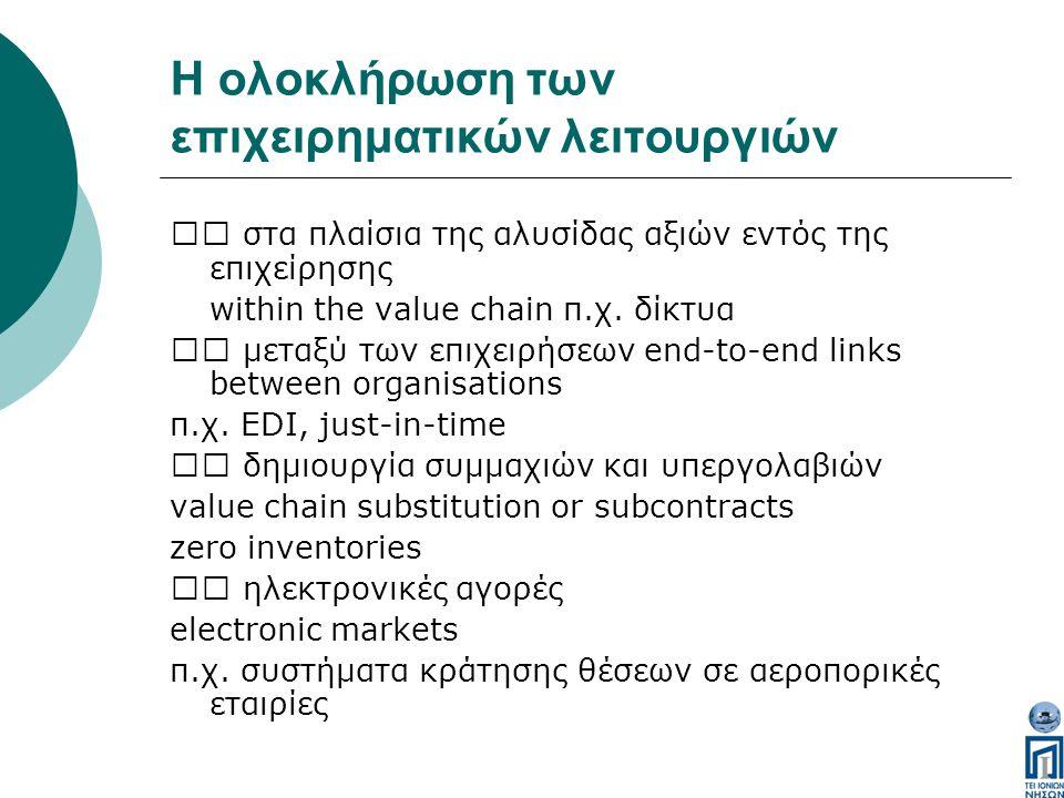 Η ολοκλήρωση των επιχειρηματικών λειτουργιών στα πλαίσια της αλυσίδας αξιών εντός της επιχείρησης within the value chain π.χ.