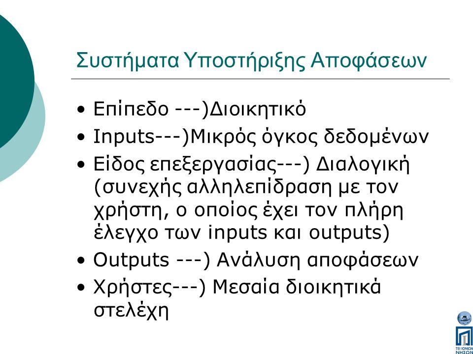 Συστήματα Υποστήριξης Αποφάσεων Επίπεδο ---)Διοικητικό Inputs---)Μικρός όγκος δεδομένων Είδος επεξεργασίας---) Διαλογική (συνεχής αλληλεπίδραση με τον χρήστη, ο οποίος έχει τον πλήρη έλεγχο των inputs και outputs) Outputs ---) Ανάλυση αποφάσεων Χρήστες---) Μεσαία διοικητικά στελέχη