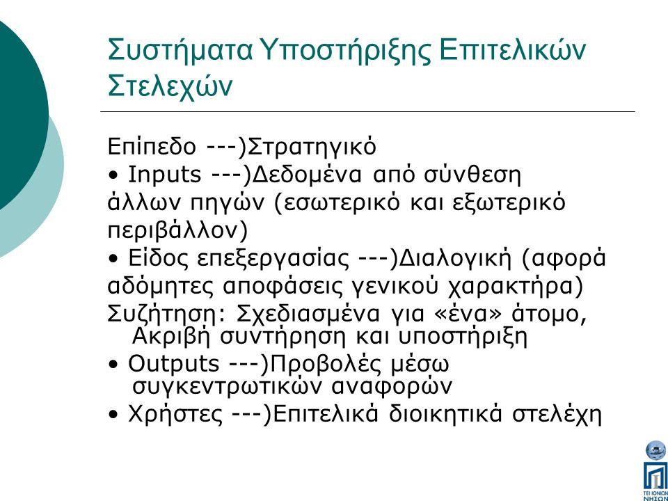 Συστήματα Υποστήριξης Επιτελικών Στελεχών Επίπεδο ---)Στρατηγικό Inputs ---)Δεδομένα από σύνθεση άλλων πηγών (εσωτερικό και εξωτερικό περιβάλλον) Είδος επεξεργασίας ---)Διαλογική (αφορά αδόμητες αποφάσεις γενικού χαρακτήρα) Συζήτηση: Σχεδιασμένα για «ένα» άτομο, Ακριβή συντήρηση και υποστήριξη Outputs ---)Προβολές μέσω συγκεντρωτικών αναφορών Χρήστες ---)Επιτελικά διοικητικά στελέχη