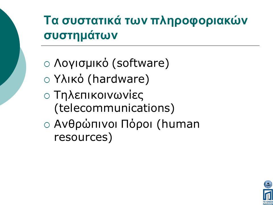 Tα συστατικά των πληροφοριακών συστημάτων  Λογισμικό (software)  Υλικό (hardware)  Τηλεπικοινωνίες (telecommunications)  Ανθρώπινοι Πόροι (human resources)
