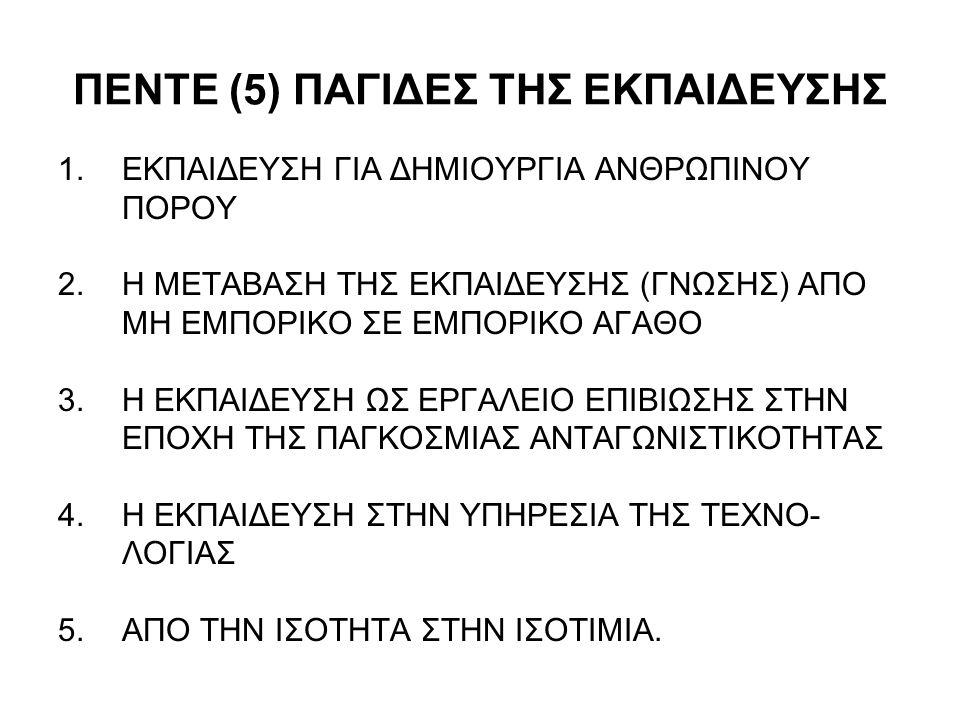 ΠΕΝΤΕ (5) ΠΑΓΙΔΕΣ ΤΗΣ ΕΚΠΑΙΔΕΥΣΗΣ 1.ΕΚΠΑΙΔΕΥΣΗ ΓΙΑ ΔΗΜΙΟΥΡΓΙΑ ΑΝΘΡΩΠΙΝΟΥ ΠΟΡΟΥ 2.Η ΜΕΤΑΒΑΣΗ ΤΗΣ ΕΚΠΑΙΔΕΥΣΗΣ (ΓΝΩΣΗΣ) ΑΠΟ ΜΗ ΕΜΠΟΡΙΚΟ ΣΕ ΕΜΠΟΡΙΚΟ ΑΓΑΘΟ